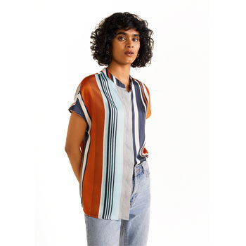 retro stripes print trend blouse