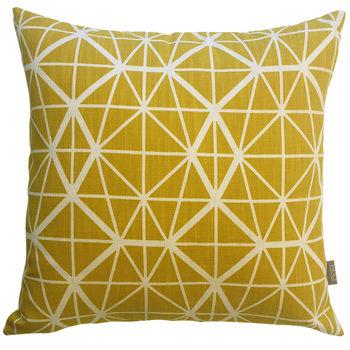 yellow print cushion