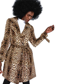 Animal printed trench coat