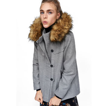 Hooded Melton coat