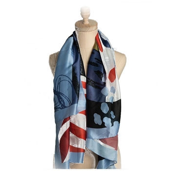 abstract printed silk scarf