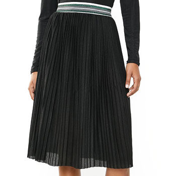 pleated skirt paired with animal print
