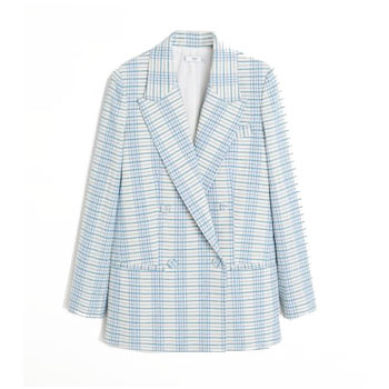 Blue and White Check Blazer