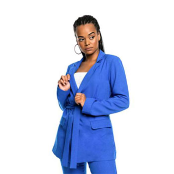 Lady in a blue colbalt blazer