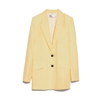 yellow Loose Fitting Blazer,
