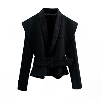 Black Tuxedo Collar Blazer With Belt