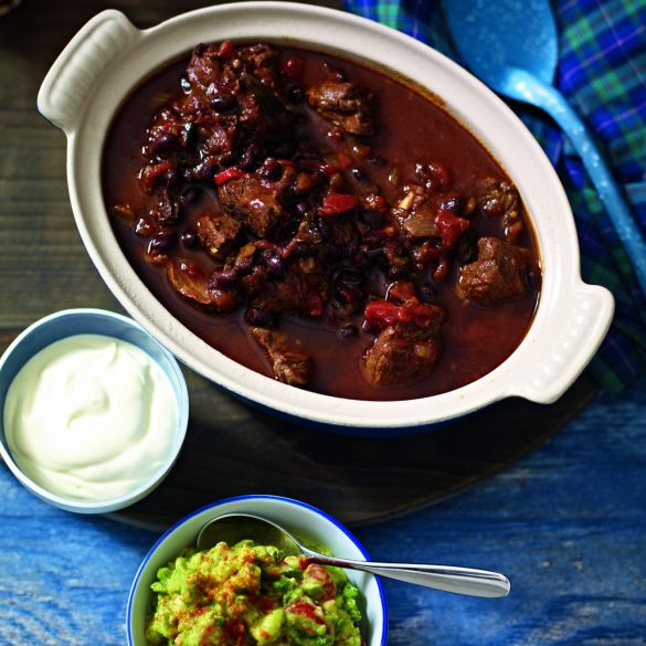 Chunky beef chilli and black beans recipe
